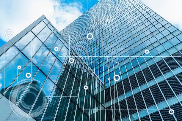modern architecture and wireless communication network stock photo