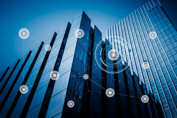 modern architecture and wireless communication network - intelligence stock pictures, royalty-free photos & images