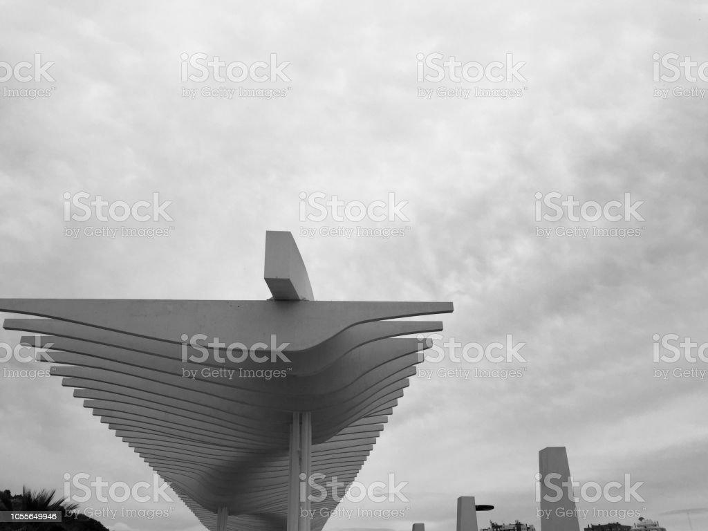 Modern architecture at Malaga Port stock photo