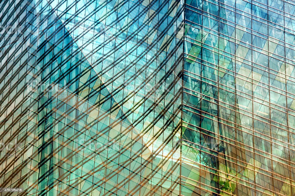 Modern architecture background with glass facades, multiple exposure effect stock photo