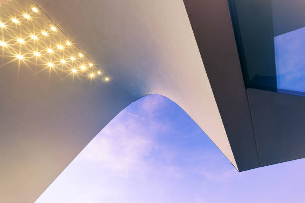 Modern Architecture detail An modern architecture detail with a curved structure. fluchtpunktperspektive stock pictures, royalty-free photos & images