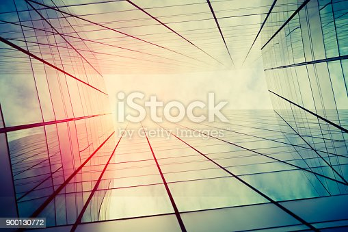 istock Modern architecture – double exposure 900130772