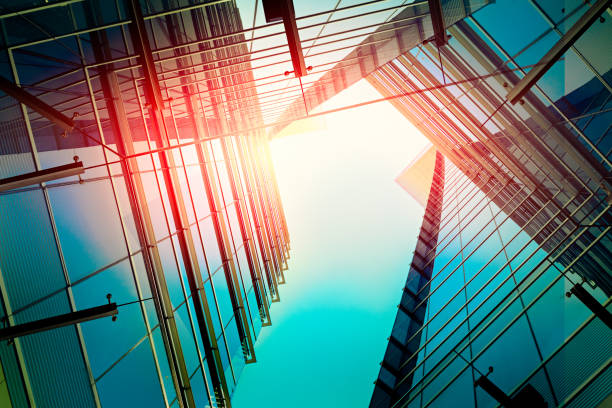 Modern architecture – double exposure stock photo