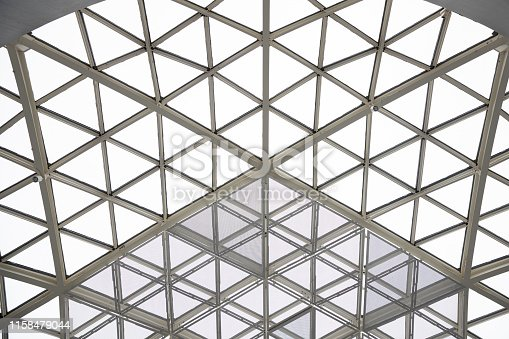 istock Modern architecture glass triangle window or roof building dome. 1158479044