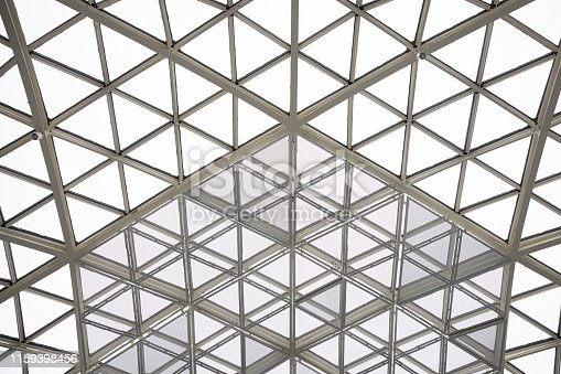 istock Modern architecture glass triangle window or roof building dome. 1159398456