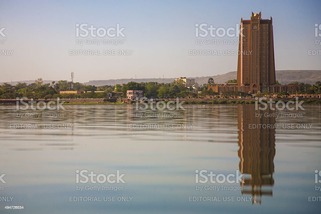 Modern architecture in front of the Niger River in Bamako stock photo