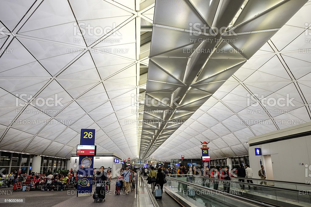 Modern architecture in Hong Kong airport stock photo