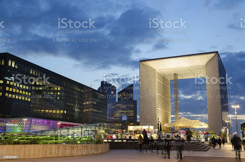 Modern architecture in La Defense  late at night royalty-free stock photo