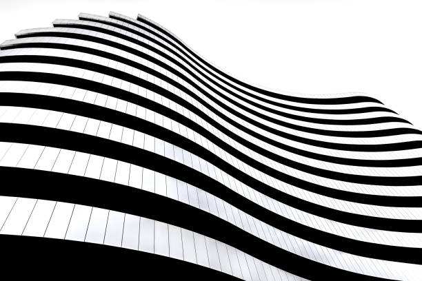 Modern architecture in Serbia. Waves facade design. Building in the shape of a flag. Modern architecture in Serbia. Waves facade design. Building in the shape of a flag. monochrome stock pictures, royalty-free photos & images