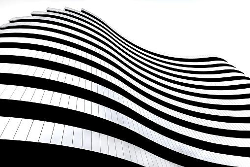 Modern Architecture In Serbia Waves Facade Design Building In The Shape Of A Flag - zdjęcia stockowe i więcej obrazów Abstrakcja