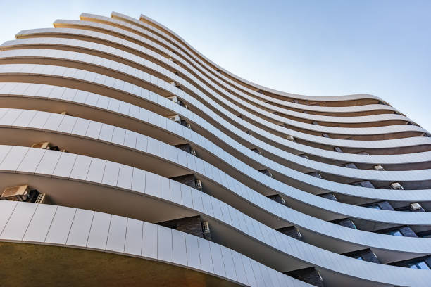 Modern architecture in Serbia. Waves facade design. Building in the shape of a flag. stock photo