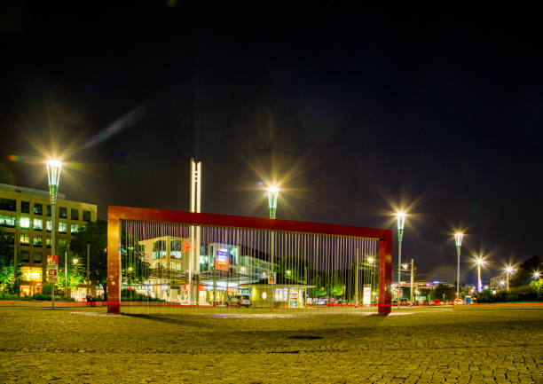 Modern architecture in the German city of Dresden in the evening stock photo