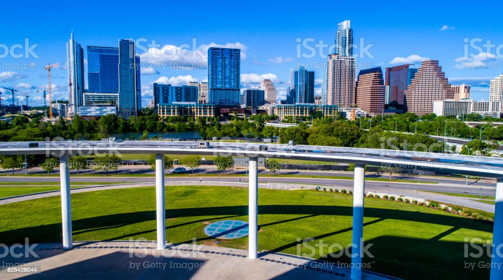 Modern architecture inside plaza on a nice sunny day Austin Texas skyline Cityscape stock photo