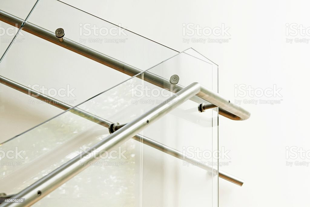 Modern architecture interior with glass balustrade stock photo