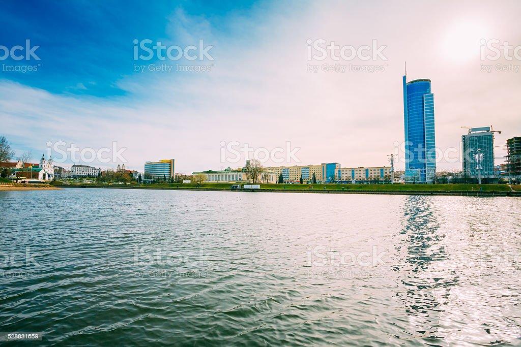 Modern Architecture Of Minsk, Nyamiha (Nemiga) District, Belarus stock photo