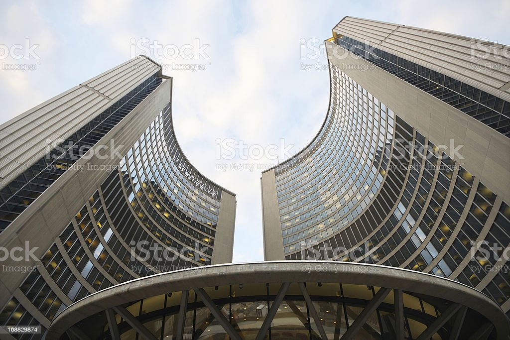 Modern architecture of the City Hall, Toronto stock photo