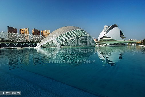 The futuristic architecture the City of Arts and Sciences, an entertainment-based cultural and architectural complex in the city of Valencia (Spain) was designed by Santiago Calatrava and Felix Candela.