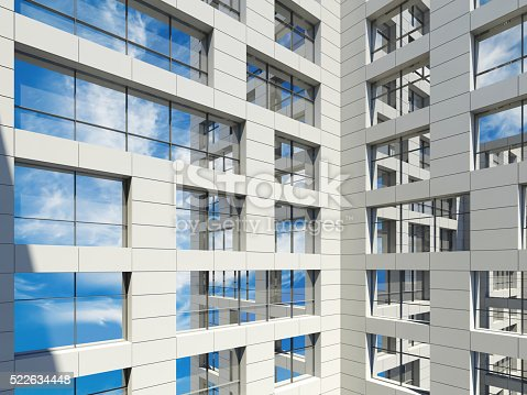 585292106 istock photo Modern architecture, windows with cloudy sky 522634448