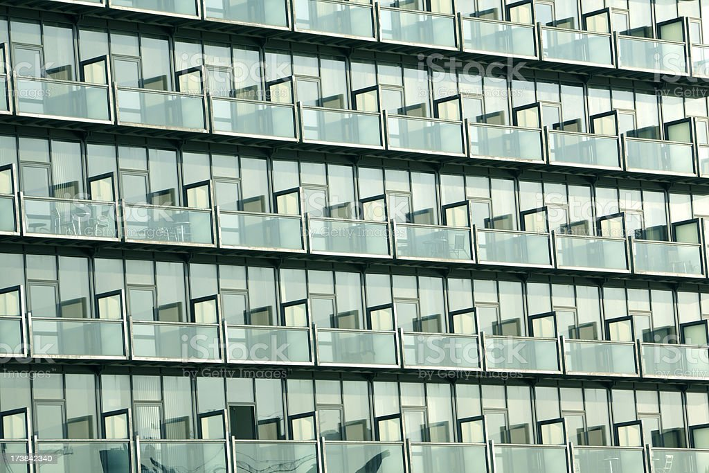 Modern Architecture With Green Glass Skyscraper Balconies stock photo