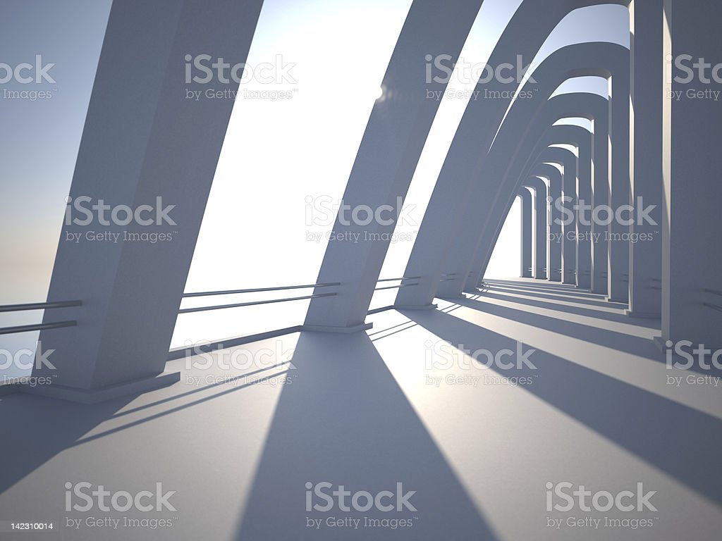 Modern architecture with pillars. stock photo