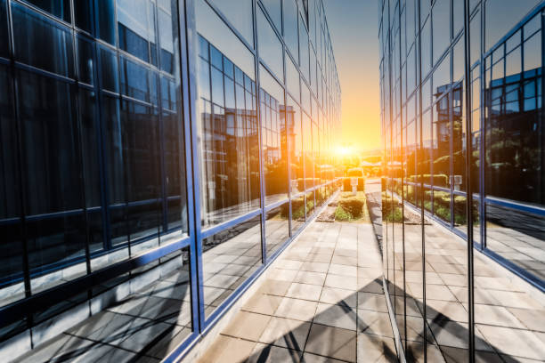 Modern architecture with sun reflection stock photo
