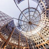 Modern architecture with sun shade structure, La Defense,Paris, France.