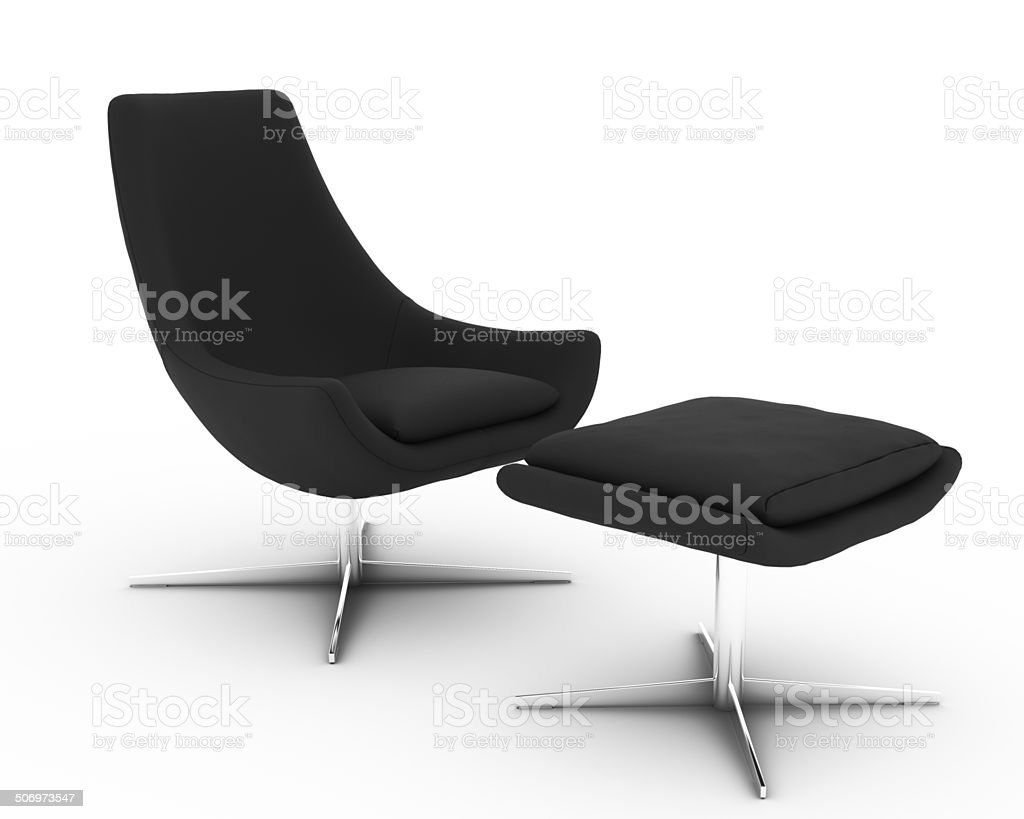 Modern Armchair And Footstool stock photo