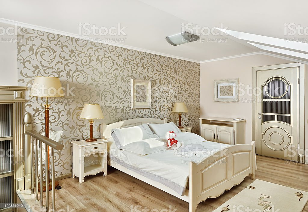 Modern art deco style bedroom interior in light beige colors royalty-free stock photo