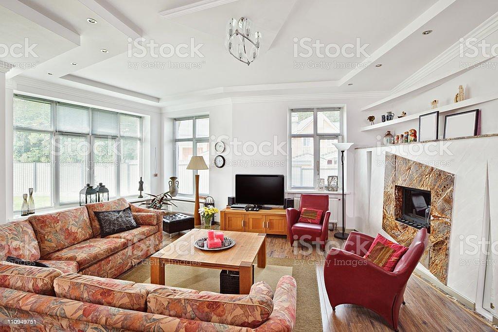 Moderne Artdeco Stil Salon Mit Kamin Innenzimmer Stockfoto ...