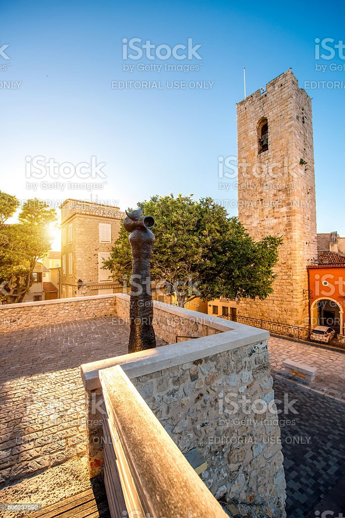 Modern art in Antibes village stock photo
