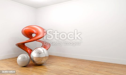 508881302 istock photo Modern art sculpture in a empty white room 508918804