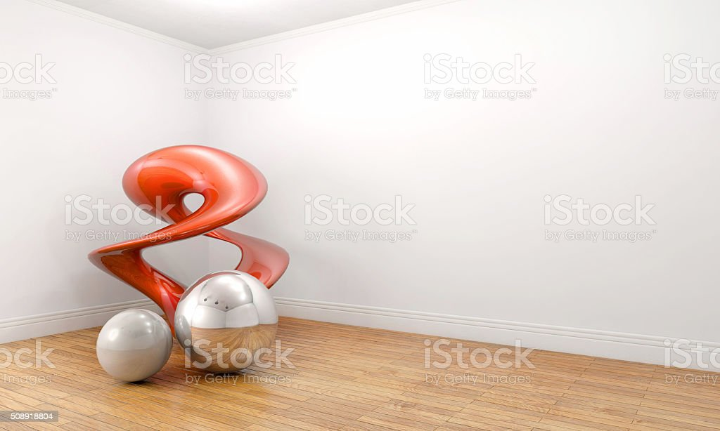 Modern art sculpture in a empty white room stock photo