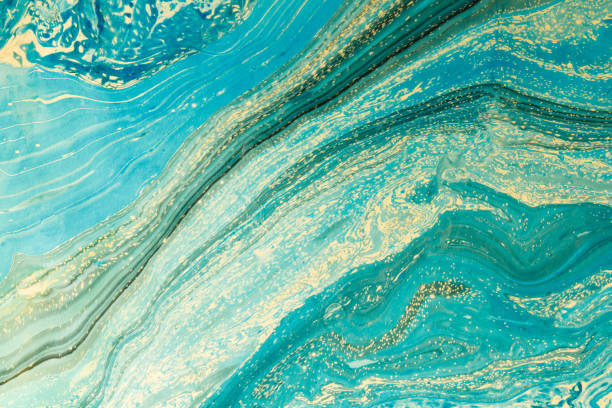Modern artwork with abstract marble painting.   Mixed turquoise and yellow paints. Unusual handmade background for poster, card, invitation. Acrylic paints on water. Horizontal image. Modern artwork with abstract marble painting.   Mixed turquoise and yellow paints. Unusual handmade background for poster, card, invitation. Acrylic paints on water. Horizontal image. turquoise colored stock pictures, royalty-free photos & images