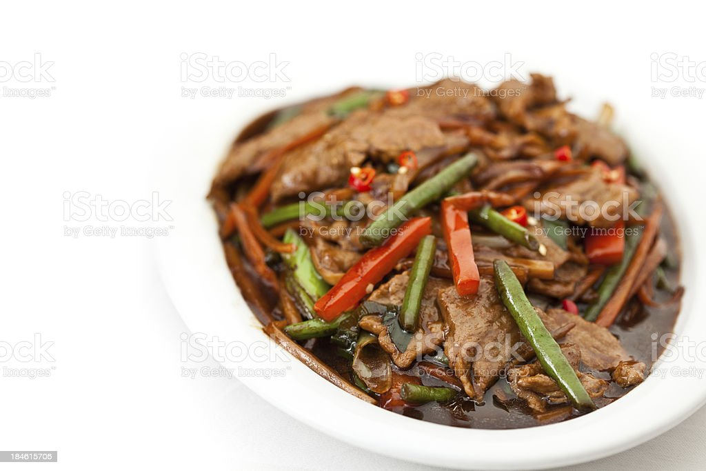 modern asian food beef szechuan style royalty-free stock photo