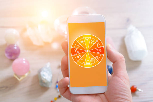 Modern astrology concept with mobile – Foto