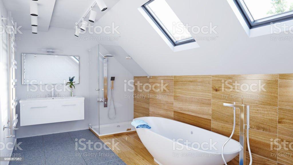 Interior De Cuarto De Baño Moderno Ático Foto de stock y más ...