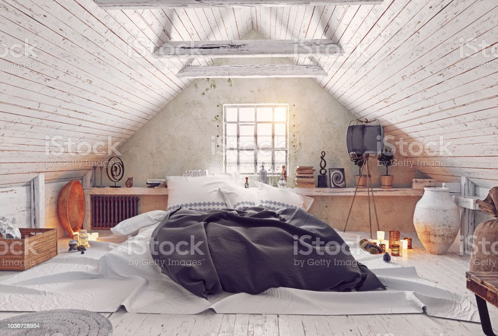 Moderne Dachgeschoss Schlafzimmer Design Stockfoto und mehr ...