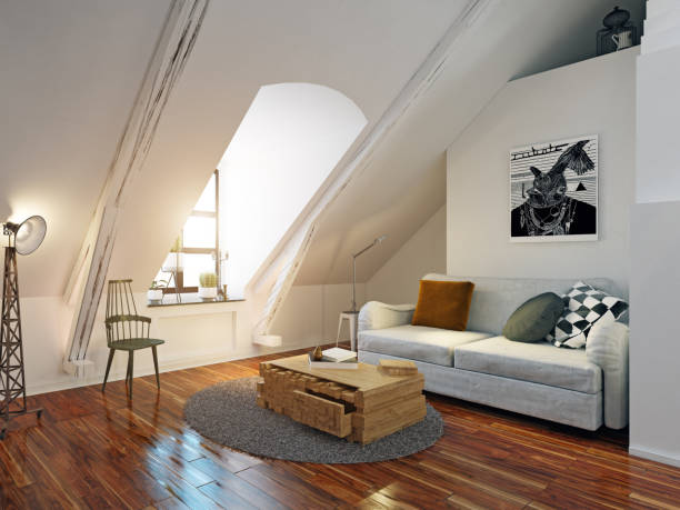 modern attic interior. modern attic interior. 3d design rendering small stock pictures, royalty-free photos & images