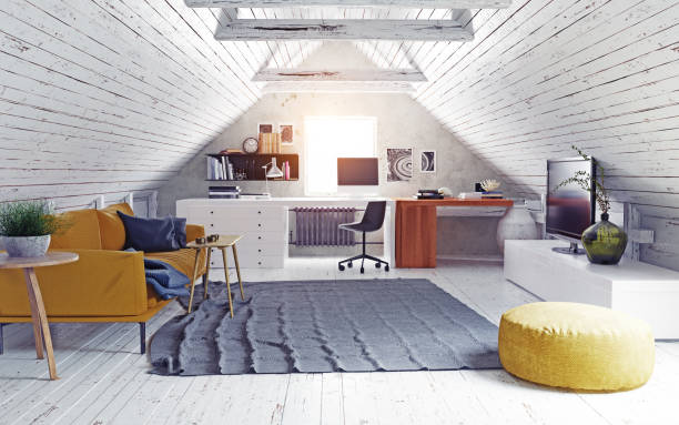 modern attic interior. stock photo