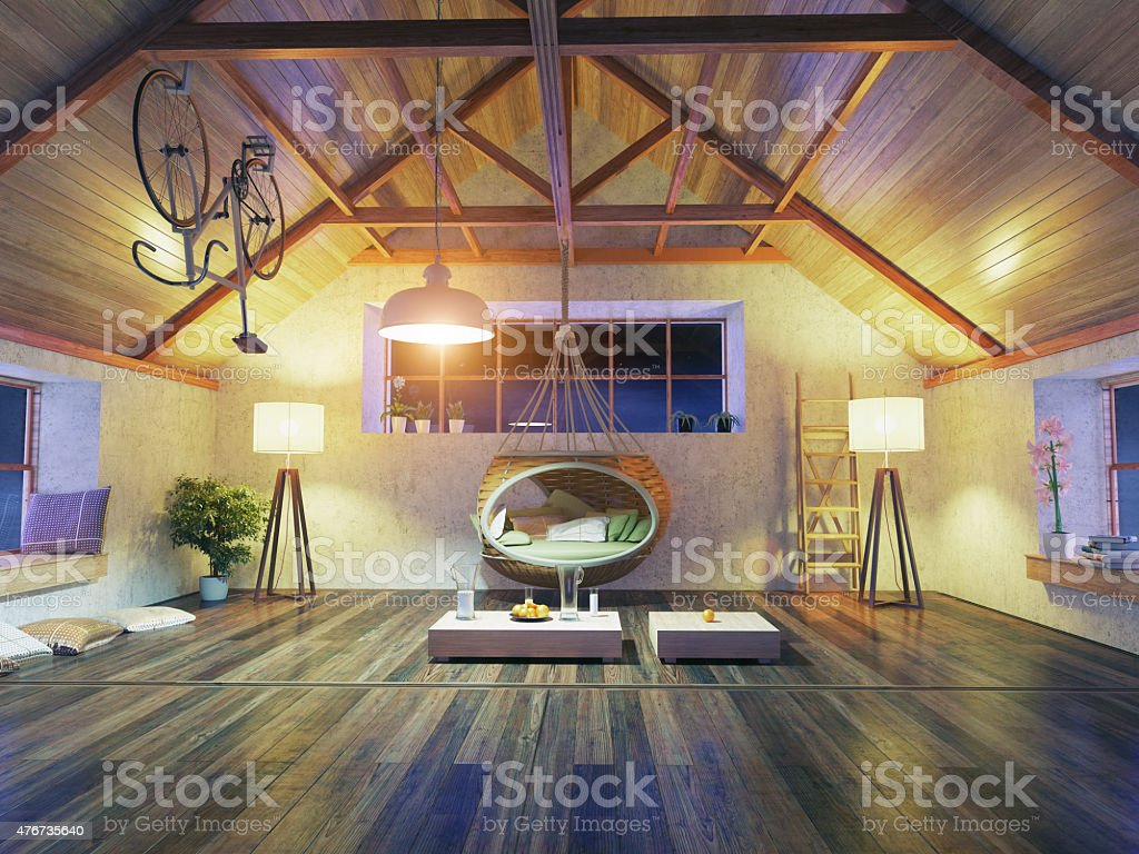 modern attic interior stock photo