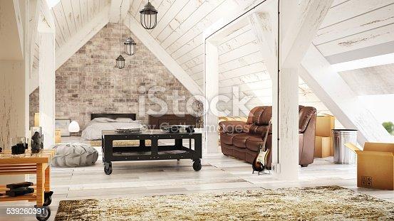 istock Modern Attic Interior 539260391