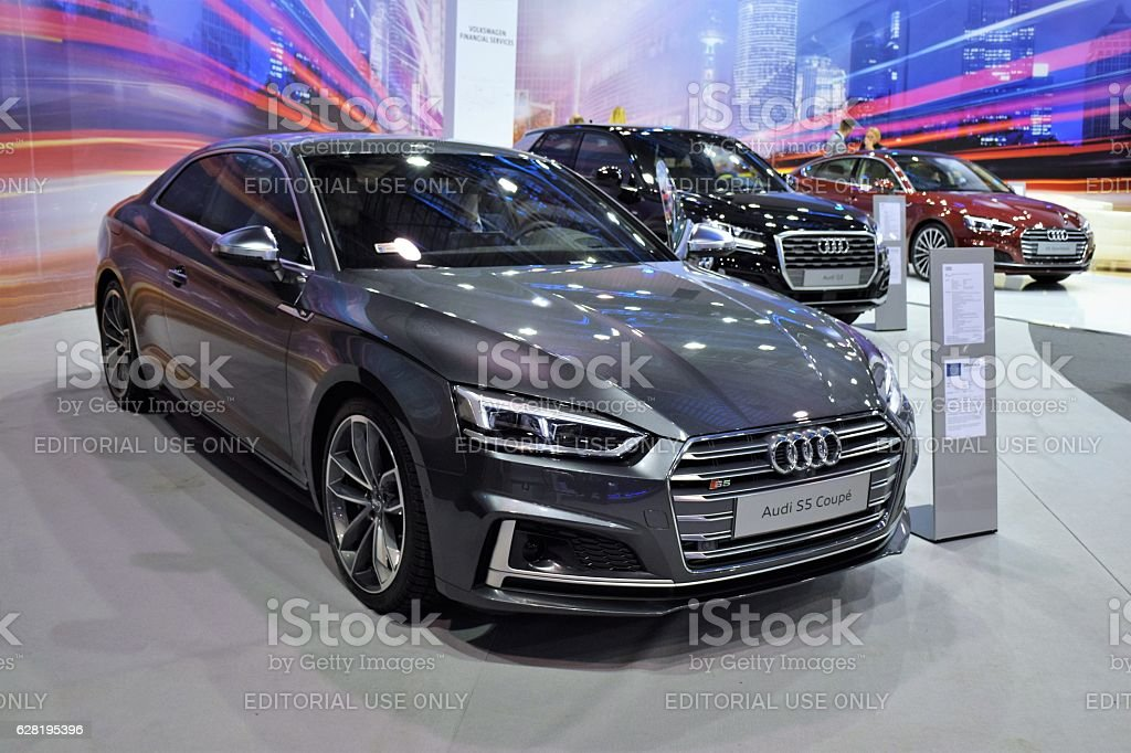 Modern Audi vehicles in the showroom стоковое фото