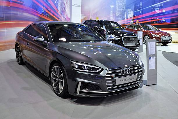 Modern Audi vehicles in the showroom stock photo