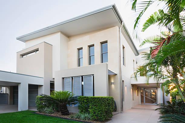 casa moderna australiana - fachada - fotografias e filmes do acervo