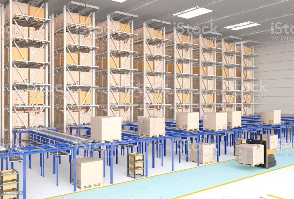 Modern Automated Logistics Center's interior stock photo