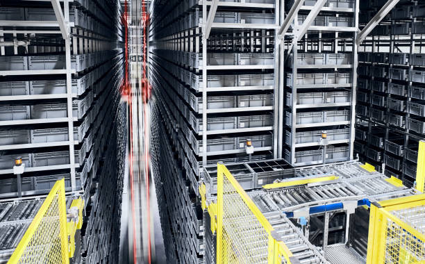 Modern automated warehouse management system. stock photo