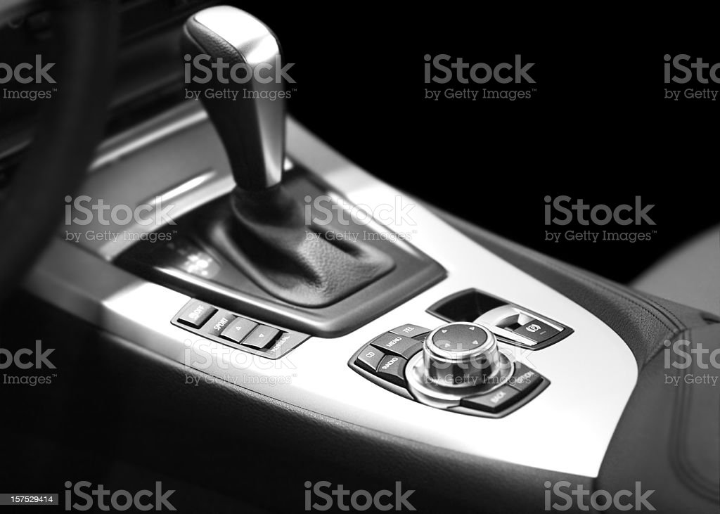 modern automatic gearshift and console royalty-free stock photo