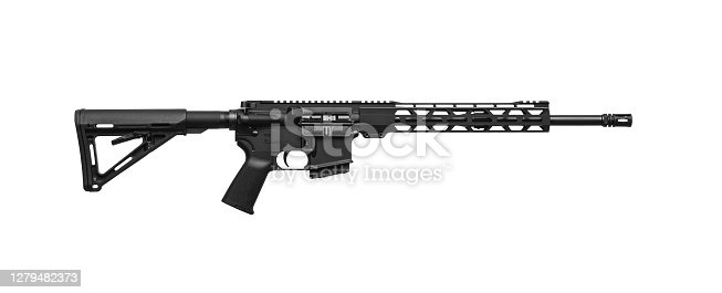 Modern automatic rifle isolated on white background. Weapons for police, special forces and the army. Automatic carbine. Assault rifle on white back.