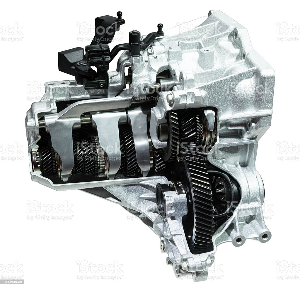Modern automatic transmission Cross section of a modern six speed automatic transmission isolated on white 2015 Stock Photo