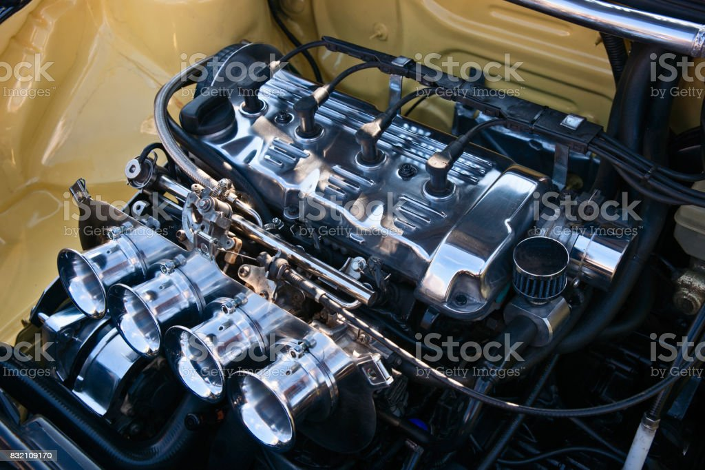 Modern automobile engine stock photo